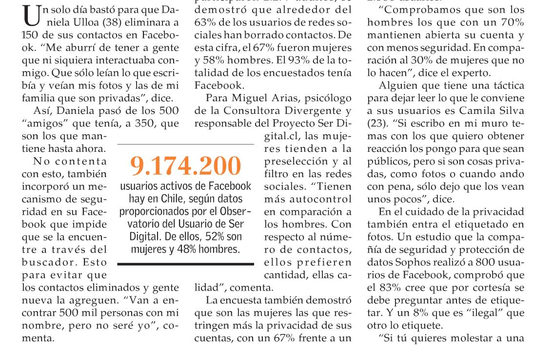 9.174.200 cuentas de Facebook en Chile. Dato SerDigital